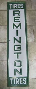 Vintage Remington Tires Sign Large Gas Station Auto Adverting Sign Embossed