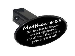"Matthew 6 33 Christian Bible Verse Oval 1 25"" Tow Hitch Cover Plug Insert"