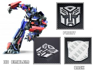 3D Transformer Autobot Logo Emblem Badge Sticker Decal Chrome Auto Car