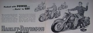 1953 Harley Davidson Panhead Motorcycle Ad w Leather Saddl No Helmet Rider