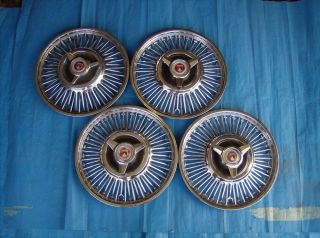 """1963 1964 Ford Falcon and Fairlane Car Wheel Cover 13"""" Set of Four with Spinners"""