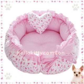 Pink Flower 100 Cotton Pets Puppy Dog Cat Beds House Double Side Use Lace Belt