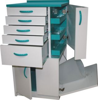 Dental Medical Lab Mobile Storage Cabinet Cart Multifunctional Drawers w Wheels