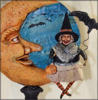 Ehag Halloween Spun Cotton Witch Paper Mache Moon Folk Art IVA Wilcox Pfatt