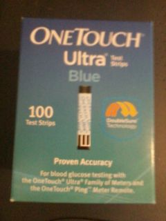 100 One Touch Ultra Blue Diabetic Test Strips Exp 08 2014 See Description