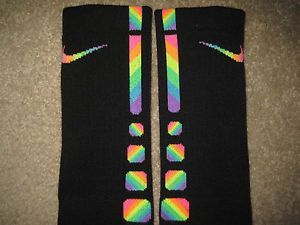 Brand New Custom Zig Zag Rainbow Nike Elite Socks Sz Large 8 12