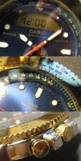 Japan Casio Ad 717 Dual Time 200M Watch Blue Dial Alarm Chronograph