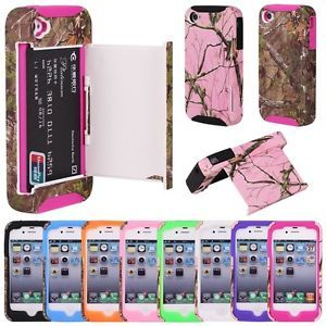 Hybrid Real Tree Camo Credit Card Hard Shell Stand Case Cover for iPhone 4 4S 4G