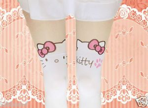 Kitty Paw Knee High Tattoo Tights Pantyhose Harajuku Kera Cute Thigh Kitten Cat
