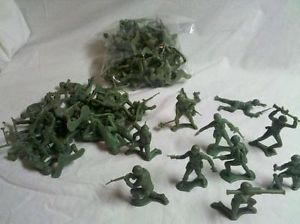 70 Olive Green Processed Plastic Timmee Vietnam Era Army Men Toy Soldiers