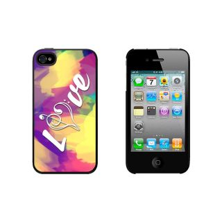 Music Heart Love Treble Bass Clef Tie Dye Case for Apple iPhone 4 4S Black