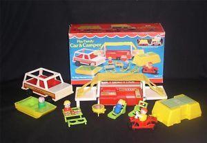 Vintage Fisher Price Little People 992 Pop Up camper Complete Box 627N