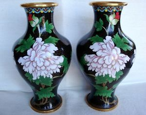 "Sale Matched Pair Japanese Cloisonne Vases Black with Flowers Leaves 10"" Tall"