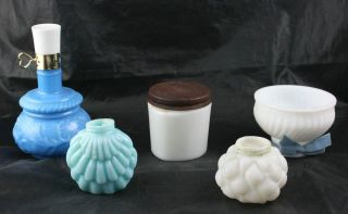 Lot of 4 Colored White Milk Glass Containers Decanters Ponds Avon Green B5O2
