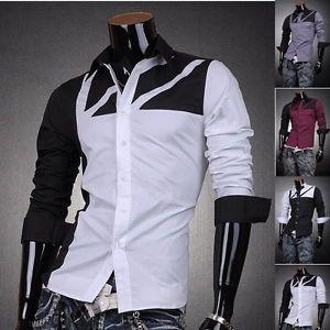 3mu Mens Designer Dress Shirts Tops Casual Unique Black White Gray s M L XL 8312