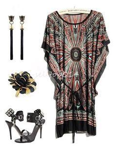 Black Fashion Women Boho Summer Casual Dresses Cool Ice Silk Dress Plus Size