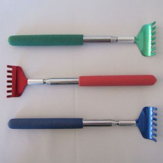 9 Telescoping Metal Back Scratchers w Same Color Head Handle Blu Red Grn