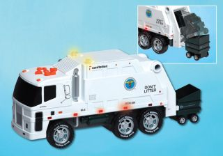 "New York City Sanitation Truck 16 5"" NYC Motorized Trash Collecting Action Toy"