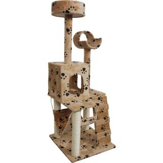 "52"" Beige Paws Cat Tree Condo Furniture Scratch Post Pet House"