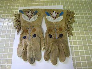 Antique c1900 Native American Beaded Western Rawhide Gauntlets Gloves