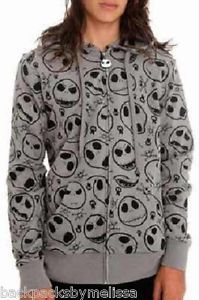 Nightmare Before Christmas Hoodie Sz Large L New Jack Skellington Face Jacket