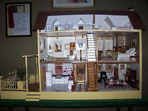 Handcrafted Wooden Farm Dollhouse and Furniture for Sale