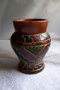 Aztec Pueblo Style Clay Pot Pottery Vase Hand Carved Painted Excellent Condition