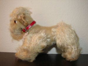 """Vintage Small Steiff """"Snooby"""" Poodle Dog 4"""" Mohair Glass Eyes German Plush Toy"""