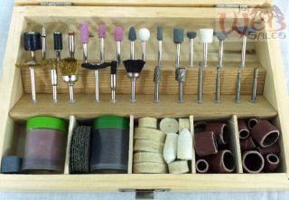 "100pc Rotary Tool Accessory Bit Bits Set 1 8"" for Dremel Jeweler Gunsmith w Case"