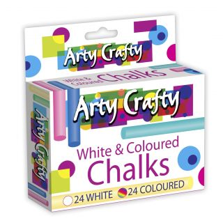 151 Arty Crafty White Coloured Chalks Arts Drawing Children's Chalk Board Pack