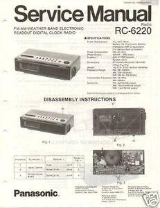 Original Service Manual Panasonic RC 6220 Clock Radio