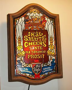 RARE Vintage Heileman's Old Style Beer Sign Lighted Bar Sign Stain Glass Style