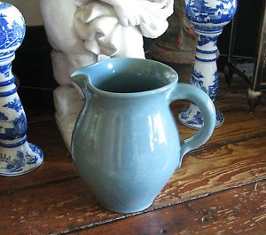 """Vintage Handmade Bybee Pottery Pitcher 9"""" – Light Blue – Kentucky Thrown Clay"""