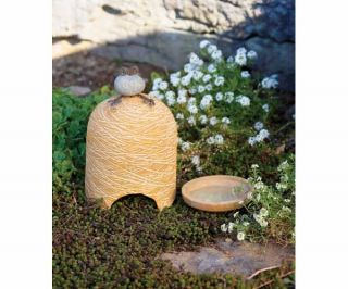 Ceramic with Metal and River Stone Frog Toad House and Bath Garden Yard Art