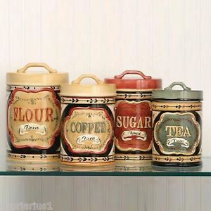 Elegant Country Store Kitchen Canister Set Flour Sugar Coffee Tea Ceramic New