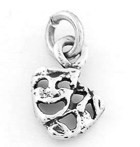 Sterling Silver 925 Comedy Tragedy Masks Charm Pendant