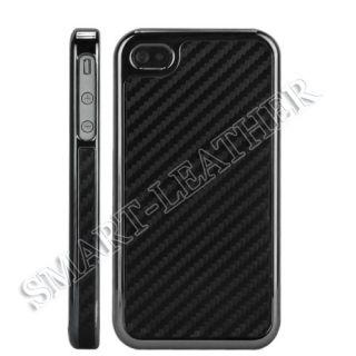 iPhone 4 4S Carbon Fiber Gun Metal Chrome Side Case Cover Black