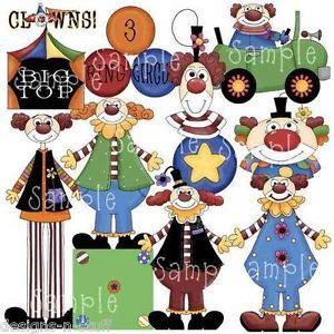 Circus Clipart Set Circus Clown Town Characters Car Tent Digital Scrapbooking CU