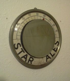 Vintage Antique Star Ale Standard Thermometer Beer Boston Breweriana Mirror