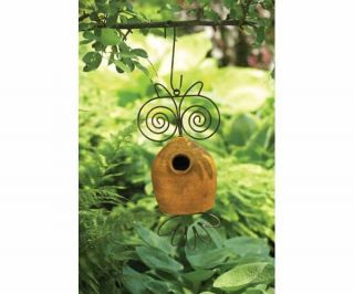 Bird House Ceramic and Metal Owl Hanging Birdhouse