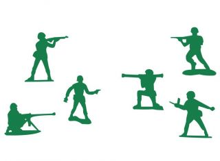 Set of 6 Little Green Army Men Toy Soldiers Toy Story Boys Wall or Car Stickers