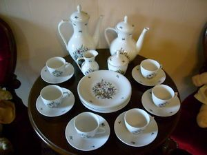 Winterling Bavaria Germany Coffee Tea Set for Six Purple Flower Pattern