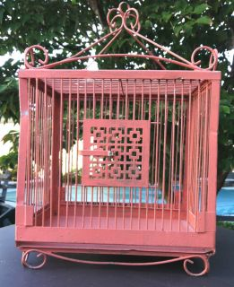 Vintage Metal Bird Cage Painted Pink Ornate Scroll Wiretrim Pattern Door Design