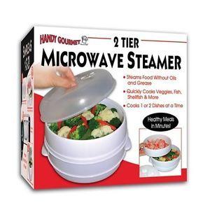 Handy Gourmet 2 Tier Microwave Steamer Food Cooker