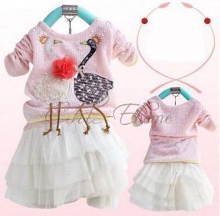 1pc Kid Baby Girl Swan Dress Knit Top Tulle Skirt Tutu Costume Clothing 2T 4T