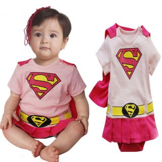 Infant Baby Girls Toddler Fancy Dress Outfit Romper Costume Superman Pink 0 2 Y