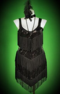 Leg Avenue Plus Size Roaring 20's Honey Flapper Costume with Fringe Sequin Dress