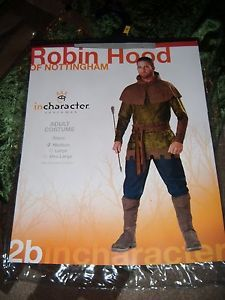 Men's Halloween Robin Hood Incharacter Costume Medium with Bow Arrow