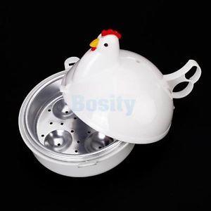 Chicken Shape Kitchen Microwave Egg Poacher Boiler Steamer Cooker for 4 Eggs New