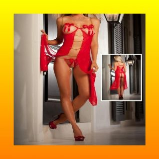 Sexy Red Sheer G String Lingerie Babydoll Long Gown Nightie Dress Size AU 8 10